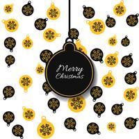Vector naadloos patroon met Kerstmisballen met gele en zwarte kleuren