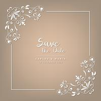 Wedding invitation cards baroque style brown and beige. Vintage Pattern