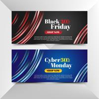 Flyer of black friday and cyber monday with lights