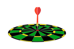 Dart i en grön måltecknadillustration