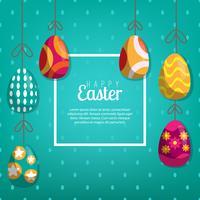 Fond avec des oeufs suspendus, illustration vectorielle. Carte de voeux Joyeuses Pâques