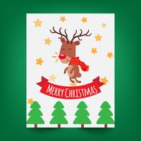 Merry Christmas greeting card with a cute little deer.