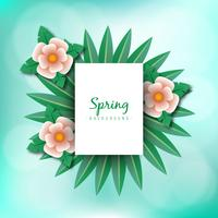Spring illustration concept. Summer background with chamomile and delicate green background
