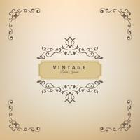 Vintage Ornament Greeting Card Vector Template. Retro Luxury Invitation, Wedding card.