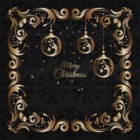 Weinleseweihnachtsluxus und goldene Grußkarte mit Blumendekoration