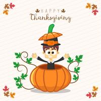 Thanksgiving greeting card with a man and pumpkin.