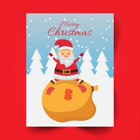 Merry christmas and santa claus sitting on bag