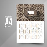 Calendário do vintage 2019