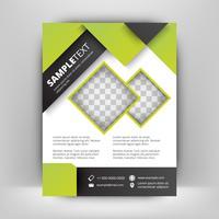 Sjabloon voor groene en zwarte business flyer. Abstracte achtergrond