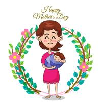 Vector illustration of mother and daughter. Mother's day greeting card.