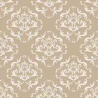 Estampa floral. Papel de parede barroco, damasco. Vetor sem costura de fundo. Ornamento marrom e branco