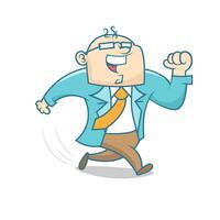 Desenho simples de um empresário correndo