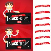 Black Friday sale inscription design template. Businessman cartoon. Deals with offer, discount, special price