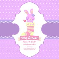 Cute baby shower card with pink rabbit
