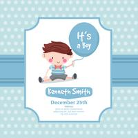 Cute baby shower card with boy
