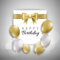 Carta di compleanno con palloncini bianchi e dorati