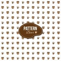 Pattern with bear and footprints shapes