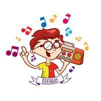 Glückwunschkarte mit nettem Jungen und Musik