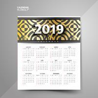 Disegni di calendario modello nero e dorato 2019