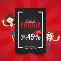 Black Friday sale inscription design template. Business man and woman cartoon