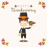 Thanksgiving greeting card with a man. Funny cartoon character for holiday
