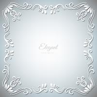 Marco de adorno sobre fondo de plata