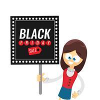 Modèle de conception inscription vente vendredi noir. Caricature de femme d'affaires