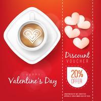Cartolina d'auguri dei biglietti di S. Valentino in bianco e tazza di caffè rossa su fondo rosso