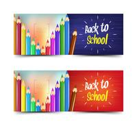 Back to school banners collection with colored pencils