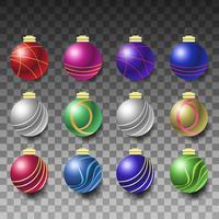 Elegante y realista colección de bolas navideñas.