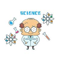 Vector picture of male scientific with laboratory symbols