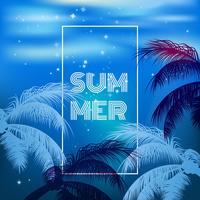 Vector hot summer night party poster background