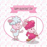 Happy valentine's Day. Two happy sheep in funny pose