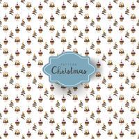 Patrón sin fisuras con cupackes de Navidad de diferentes formas decoradas