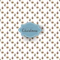 Seamless pattern with Christmas cupackes of different shapes decorated