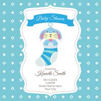 Baby shower card template with rabbit