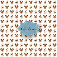 Seamless pattern of Merry Christmas festival design with santa reindeer and penguin