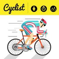 Ícones de banner e infográfico de ciclista