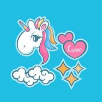 Stickers set with unicorn, rainbow, star, cloud, magic wand