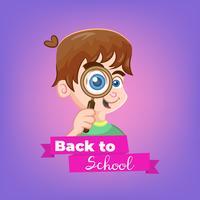 Tópico de menino dos desenhos animados de volta à escola