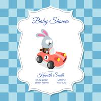 Baby shower card template with cute rabbit
