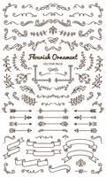 Collection set of flourish ornament label vector illustration