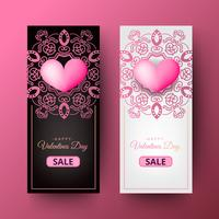 Happy Valentines Day decorative Poster Design Template. Vertical format
