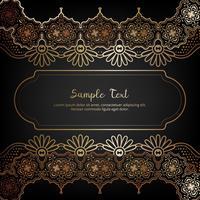 Elegante tarjeta de invitación con decoración floral en color dorado y negro.