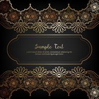 Cartão de convite elegante com decoração floral em ouro e cor preta