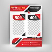 Red and black business flyer template. Abstract background