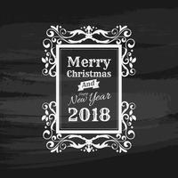 Merry christmas and Happy New year vintage chalk text label on a blackboard