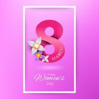 Mars bonne journée des femmes. Papier blanc rose coupe la carte de voeux Floral.