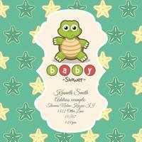 Green card for baby shower with a cute turtle