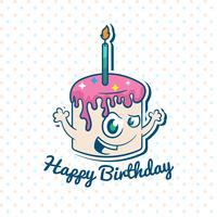 Feliz aniversário, ilustração, com, bolo